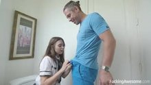 Schoolgirl Riley Reid surprised by Mick Blue's Cock