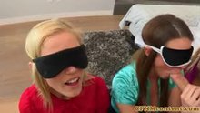 3 Blindfolded hotties, 1 cock (CFNM)
