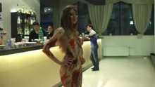 Body painted babe in the bar
