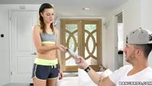 Alaina Dawson blindfolds her sister's boyfriend