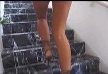 Keri Sable walking up the stairs