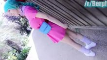 Cosplay girl flashing/masturbating in public garden