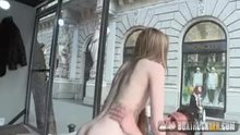 Long hair cutie fucked in a box in public