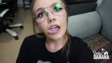 Cute Nerdy Girl Plays Around With A Thick Load.