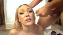 Lily LaBeau takes facial and starts dildoing her pussy