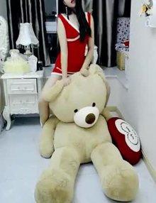 Humping her Big Teddy Bear