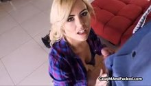 Beautiful blonde deepthroats lucky cock