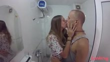 Horny, real couple show off their holiday sex