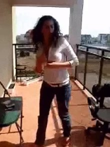 Russian Girl Lost Bet for Striping on Balcony