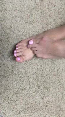 Wife rubbing my cum on her feet