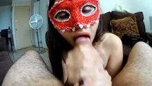 masked amateur jerks a load into her mouth