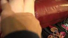 Massaging petite Piper Perri's feet
