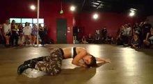 Jade Chynoweth writhes on the floor