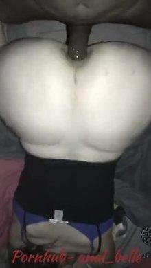 Using him as a butt plug
