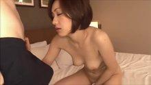 Japanese babe gives sensual blowjob to a big white cock