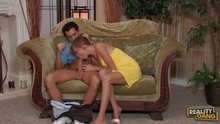 Babe In Yellow Dress Sucks Him Up On A Fancy Couch