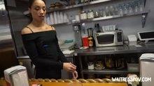 Skinny Ebony teen earning extra cash being a waitress