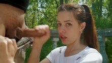 First time messy blowjob outdoors