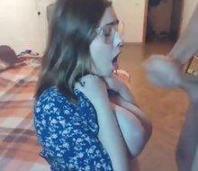 Huge boobs teen gets huge facial