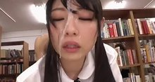 Rena Aoi cumfaced fucking in a library