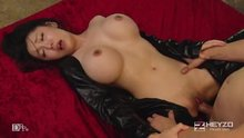 Hot Girl in Leather Dress Gets Creampied