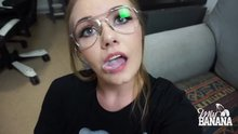 Miss Banana is playing with cum