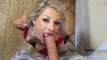 Blonde fucks her own face before taking a massive facial