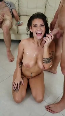 Indica Flower's face covered in cum after fucking and sucking two guys