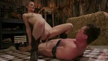Mona Wales squirts while working it femdom style