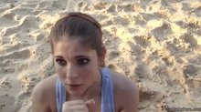 Cuties finishes him off on her face at the beach