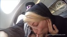 Risky airplane blowjob