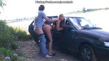 Fucking behind a car