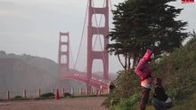A couple of tourists suck and fuck near the Golden Gate Bridge.