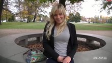 A sexy blonde sucks and fucks in the middle of a city park.