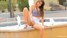 Eva Celeste caught playing with herself on fountain