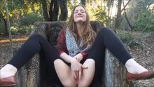 Cute Brunette Masturbates and Squirts in a Park.