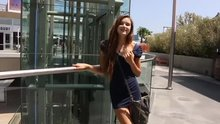 Alex Mae quickly flashes at outdoor mall