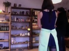 She Flashing Her Ass While Customer Is Inside Shop