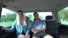 Big tittied blonde gets fucked in a van and squirts everywhere