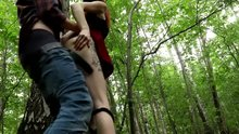 They get caught fucking in the woods. He cums in her panties