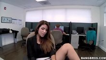 Playing with her pussy in the Office